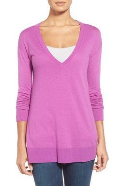 Halogen - V-Neck Tunic Sweater