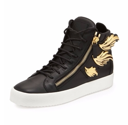 Giuseppe Zanotti - Leather High-Top Golden Wings Sneaker