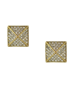 Vince Camuto  - Goldtone And Crystal Pyramid Stud Earrings