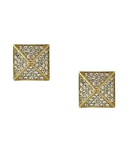 Vince Camuto  - Goldtone And Crystal Pyramid Stud Earrings