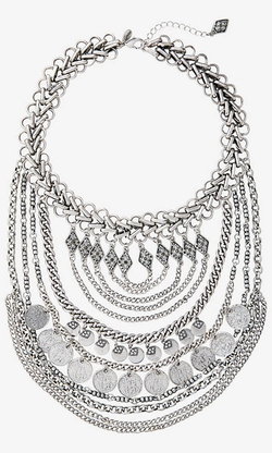 Express - Layered Coin And Chain Bib Necklace