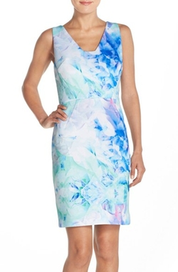 Julia Jordan  - Print Scuba Sheath Dress