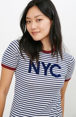 Urban Outfitters - NYC Striped Ringer Tee