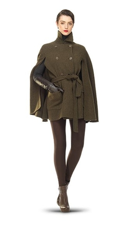 Leon Max - Brushed Doubleweave Belted Cape Coat
