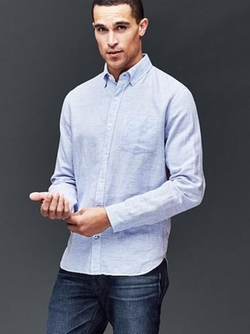 Gap - Linen-Cotton Horizontal Stripe Shirt