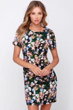 For Love Or Monet  - Black Floral Print Dress
