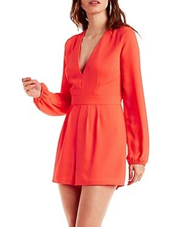 Charlotte Russe - Plunging Bell Sleeve Romper