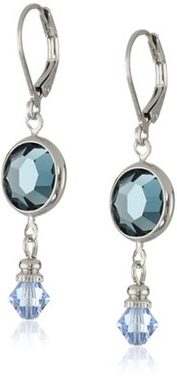 Signature 1928  -  Silver-Tone Sapphire Swarovski Drop Earrings