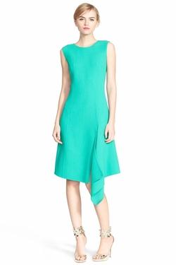 Oscar De La Renta - Side Drape Double Face Wool Crepe Dress