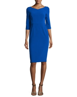 Black Halo - 3/4-Sleeve V-Neck Sheath Dress