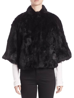 Adrienne Landau  - Cropped Textured Rabbit Fur Jacket