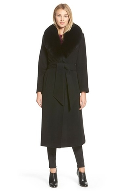 George Simonton  - Hollywood Fox Fur Collar Long Wrap Coat