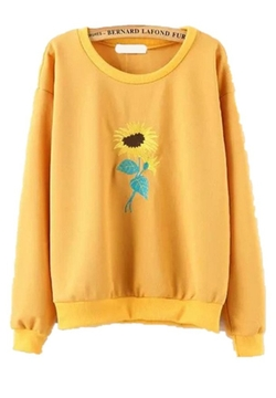 Friendshop - Fall Casual Sunflower Embroidered Sweater