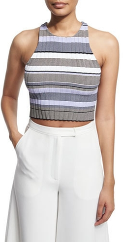 Elizabeth and James - Sleeveless Racerback Striped Crop Top