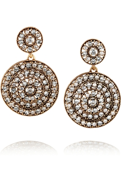 Oscar De La Renta - Disk Gold-Plated Crystal Clip Earrings