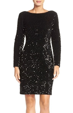 Chetta B - Sequin Velvet Sheath Dress