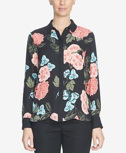 CeCe - Floral-Print Button-Front Blouse