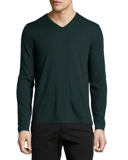 Neiman Marcus  - Wool V-Neck Modern-Fit Sweater