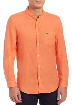 Lacoste - Long Sleeve Solid Linen Shirt