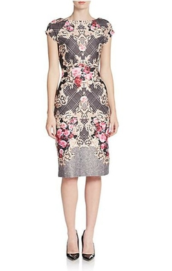 Eci  - Plaid Scrollwork-Print Sheath Dress