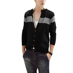 Vshop-2000 - Round Neck Long Sleeve Block Ribbing Cardigan