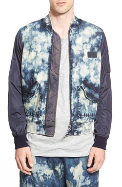 PRPS - Bleached Denim & Nylon Bomber Jacket