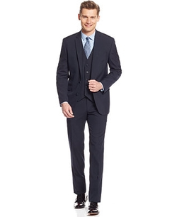 Kenneth Cole Reaction  - Navy Pinstriped Vested Slim-Fit Suit
