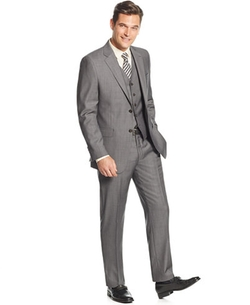 Lauren Ralph Lauren  - Slim-Fit Mid-Grey Pindot Vested Suit