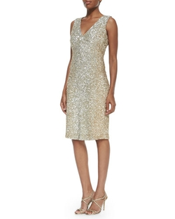 Pamella Roland - V-Neck Allover Sequin Dress
