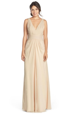 Monique Lhuillier Bridesmaids  - V-Neck Pleated Chiffon Gown