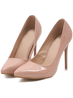 Romwe - Nude Point Toe High Heeled Pumps