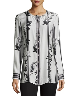 Paperwhite - Striped Floral-Print Crewneck Blouse