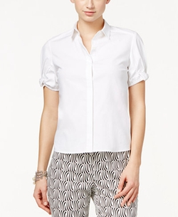 CeCe  - Bow-Trim Short-Sleeve Shirt
