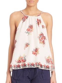 Joie  - Gris Hacienda Silk Floral Print Tank Top
