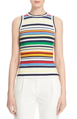 Milly - Stripe Rib Knit Tank Top