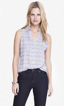 Express - Eiffel Tower Print Sleeveless Portofino Shirt