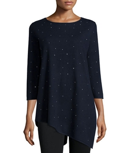 Carmen by Carmen Marc Valvo - Beaded Asymmetric Tunic Sweater