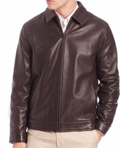 Saks Fifth Avenue Collection - Leather Bomber Jacket