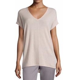 Vince - Rolled-Edge Cashmere V-Neck T-Shirt