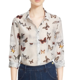 The Kooples - Butterfly Print Cotton & Silk Shirt