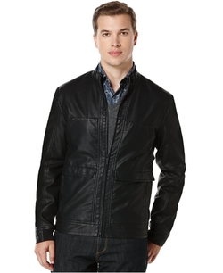 Perry Ellis  - Textured Faux-Leather Bomber Jacket