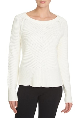 1.State - Diagonal Stitch Peplum Sweater