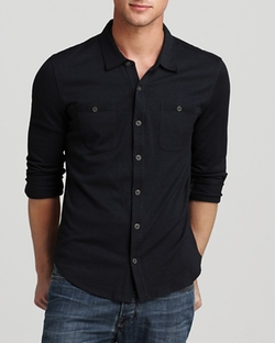 John Varvatos Collection - Button-Front Knit Button Down Shirt