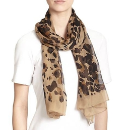 Burberry  - Animal-Print Mulberry Silk Scarf