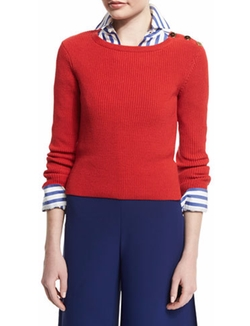 Ralph Lauren - Button-Shoulder Long-Sleeve Sweater