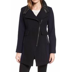 Trina Turk - Eleanor Leather Trim Wool Blend Coat