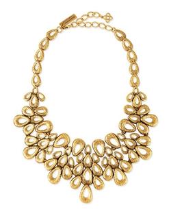 Oscar De La Renta - Gold-Plated Teardrop Bib Necklace