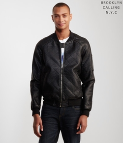 Brooklyn Calling  - Faux Leather Bomber Jacket