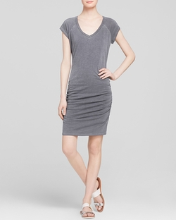 Sundry - V Neck Ruched Dress