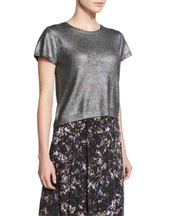 Zac Posen  - Miranda Short-Sleeve Metallic Knit Crop Top
